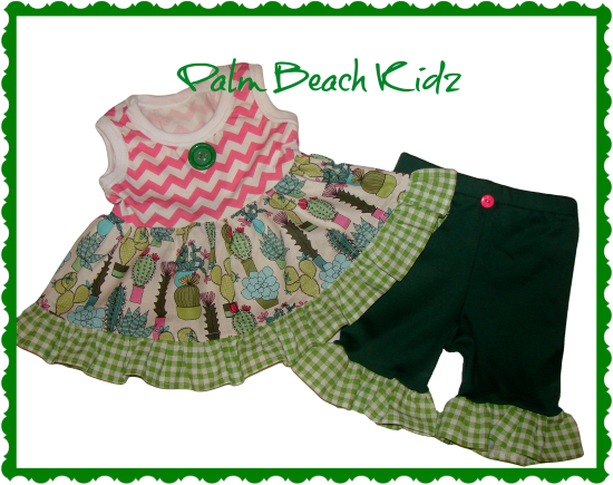 Cactus Pink N Green Ruffled Short Set