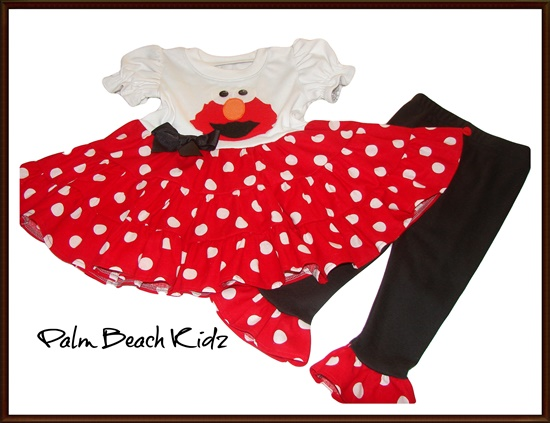 Elmo Red Dot Ruffled Legging Dress Set