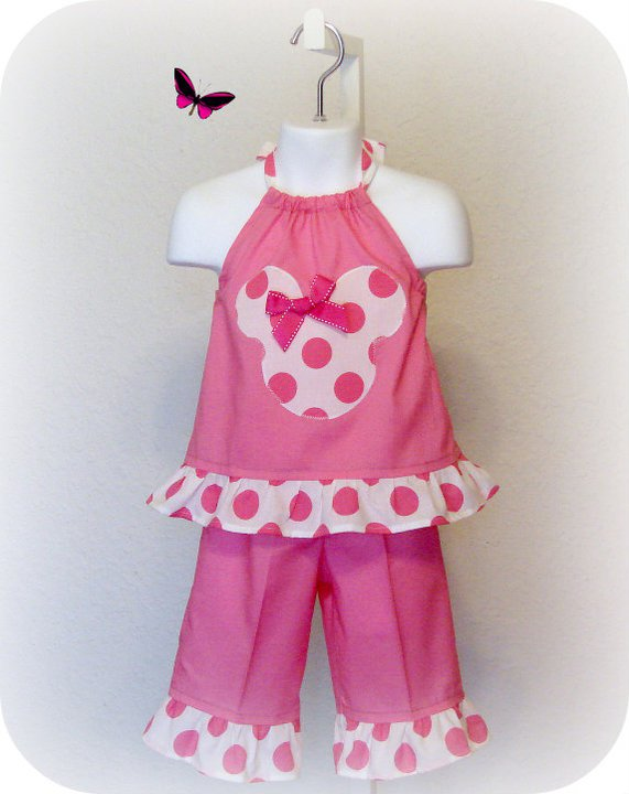 Minnie N Pink Halter Capri Set