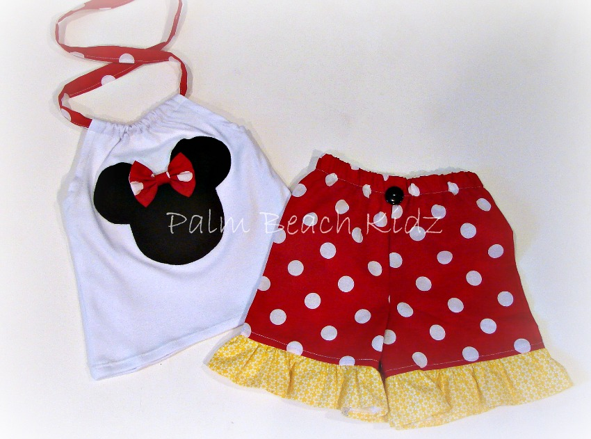 Minnie Red Dot N Yellow Halter Short Set