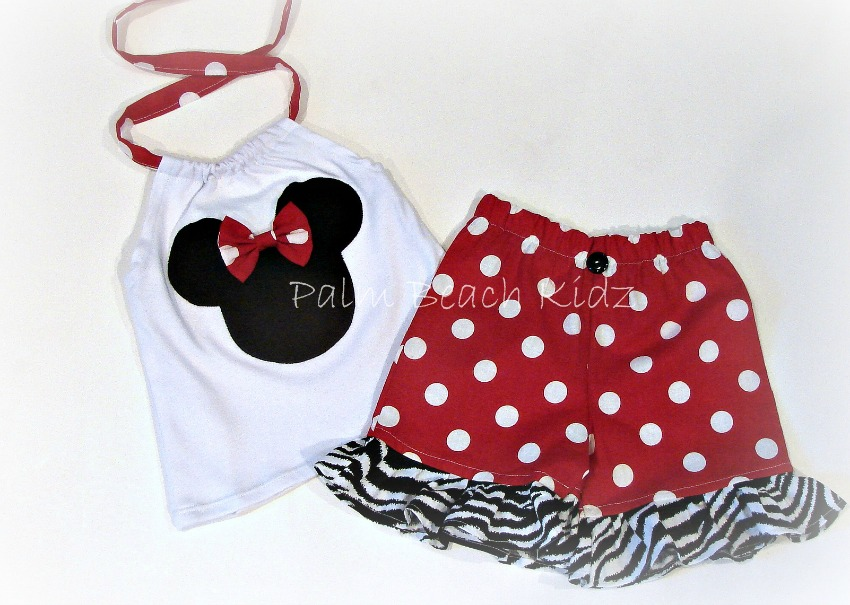 Minnie Red Dot N Zebra Halter Short Set