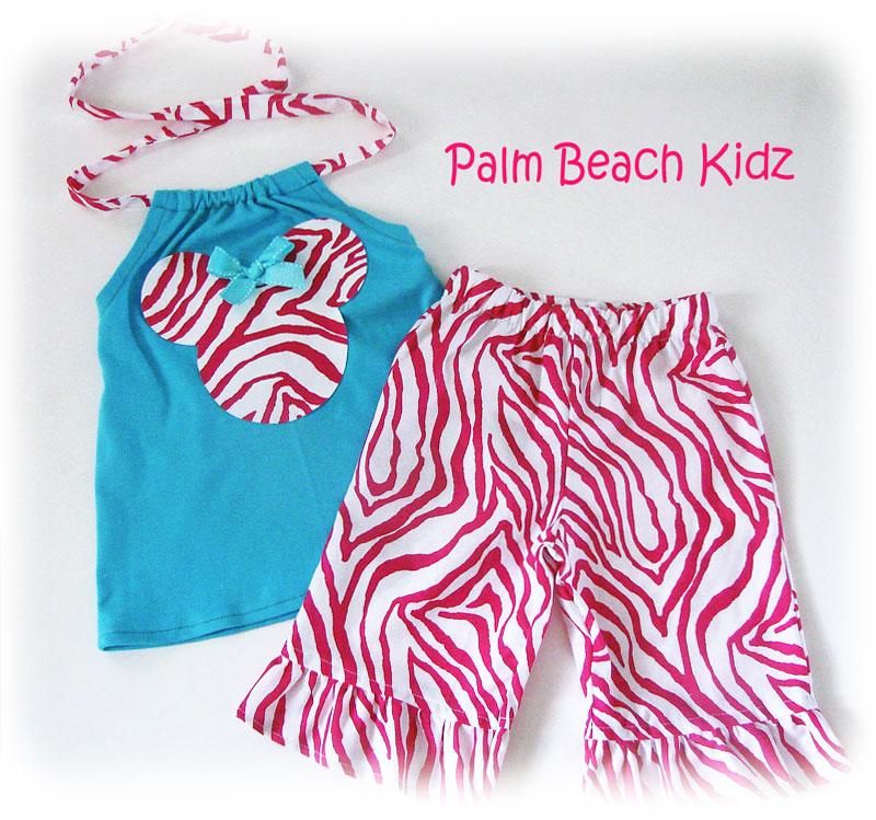 Aqua N Pink Zebra Halter Capri