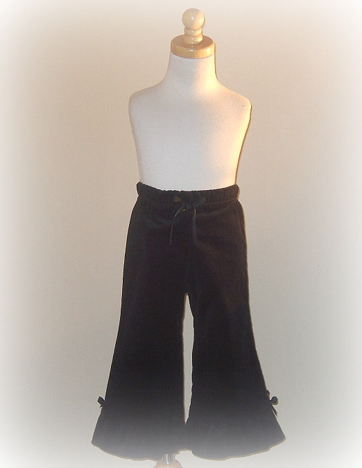 Black Ruffled Corduroy Pant
