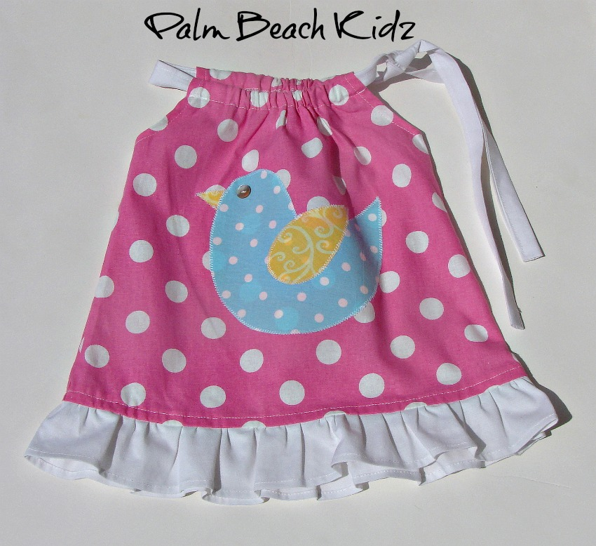 Blue Birdie N Pink Dot Dress