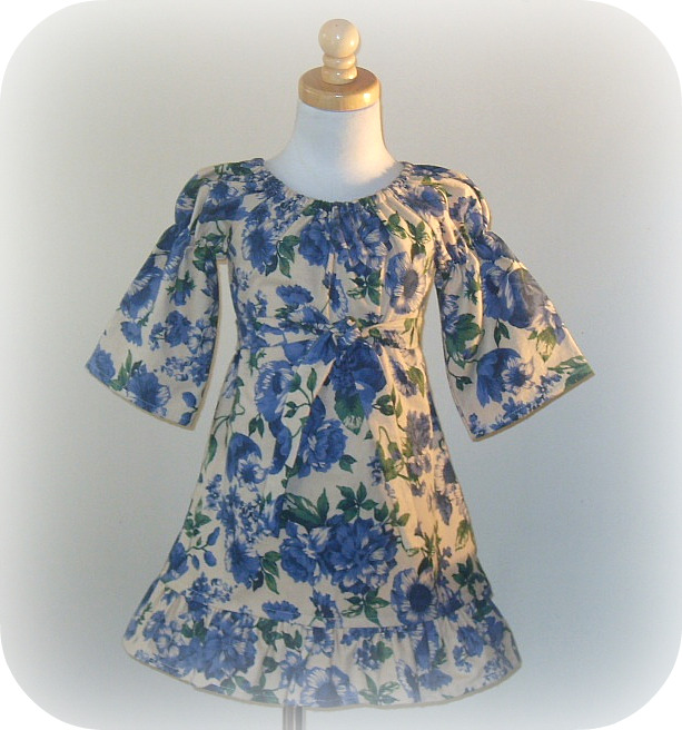 Winter Blue Florals Peasant Dress