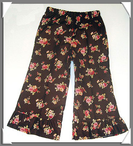 Cocoa Floral  Ruffle Pant