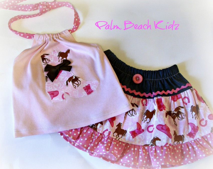 Cow Boot N Pink Denim Halter Skirt Set