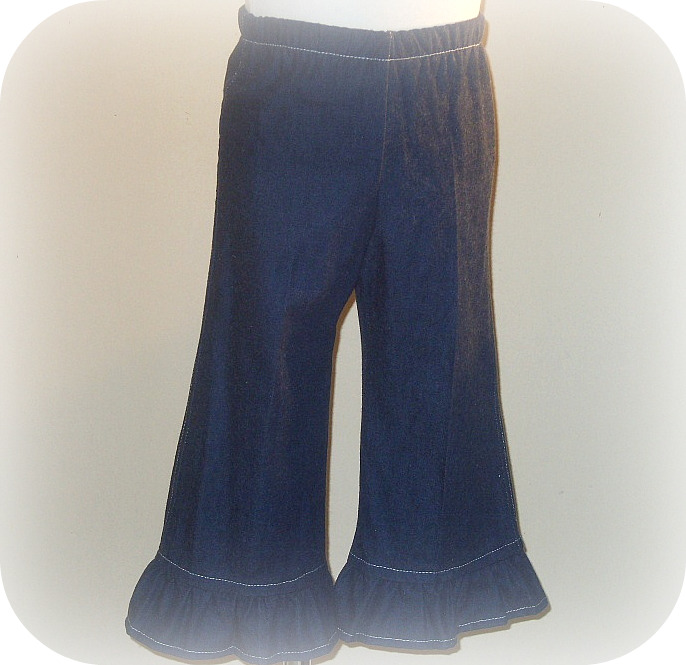 Denim Ruffled Pant