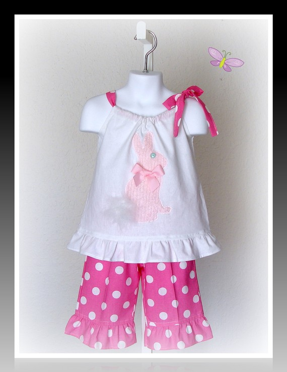 Easter Bunny Pink Dots Capri Set