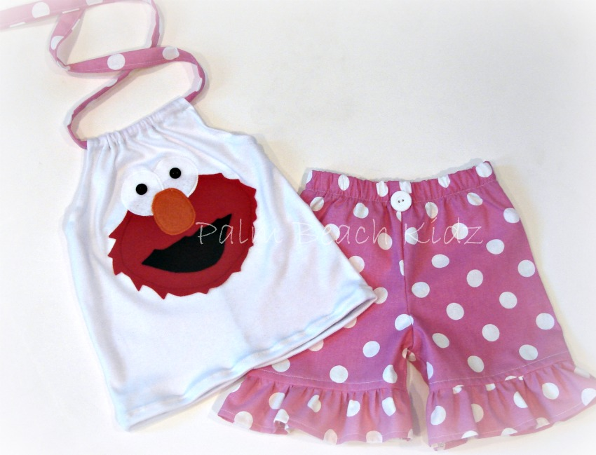Elmo Pink Dot Halter Short Set