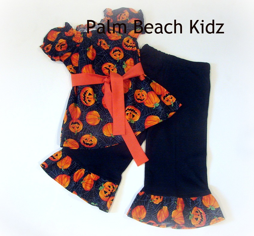 Halloween Pumpkins Peasant Pant Set