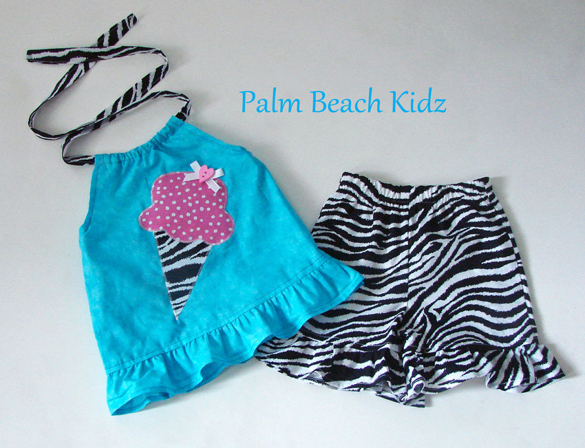 Icecream Short Set N Aqua N Zebra