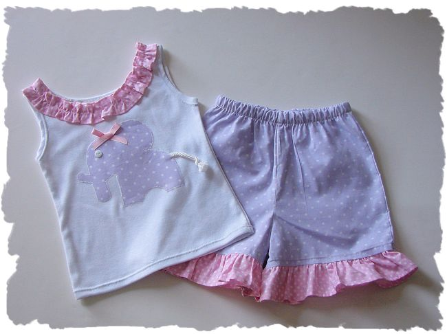 Lavender Elephant Short Set