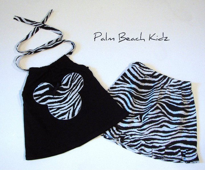 Minnie N  Zebra Halter Skirt Set