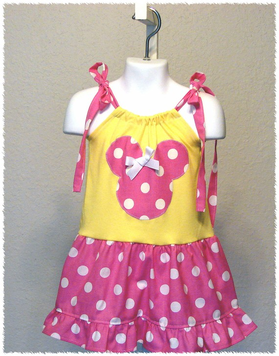 Minnie Yellow N Pink Dot Dress