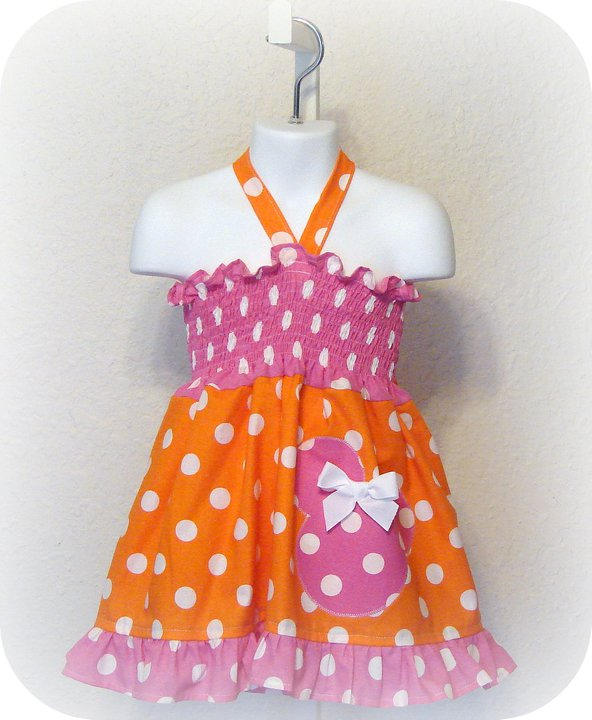 Minnie Halter Dress N Orange Pink Dot