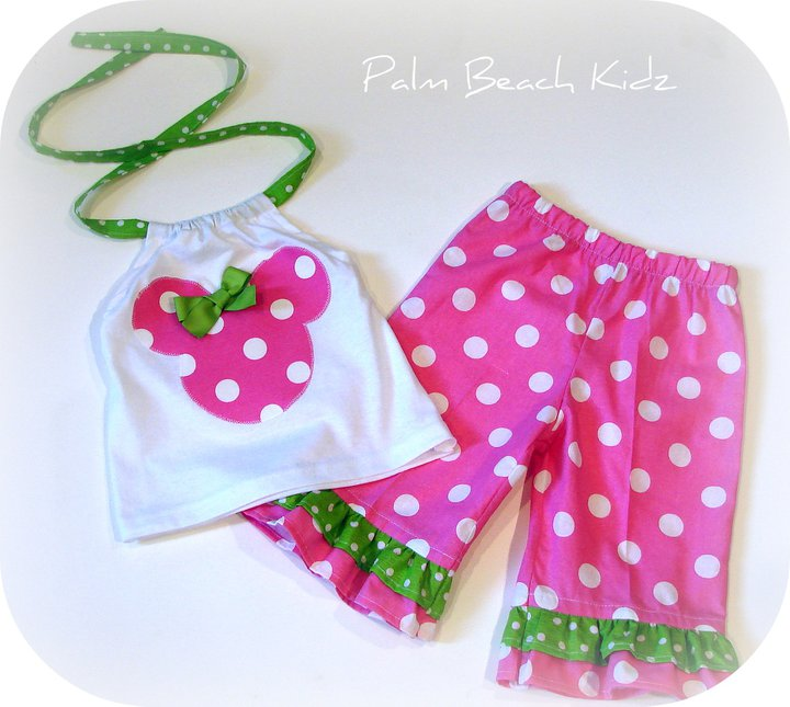 Minnie N Pink  Lime Dot Capri
