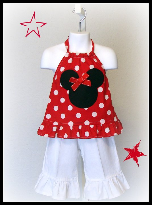 Minnie Red Dot Halter N White Capri Set