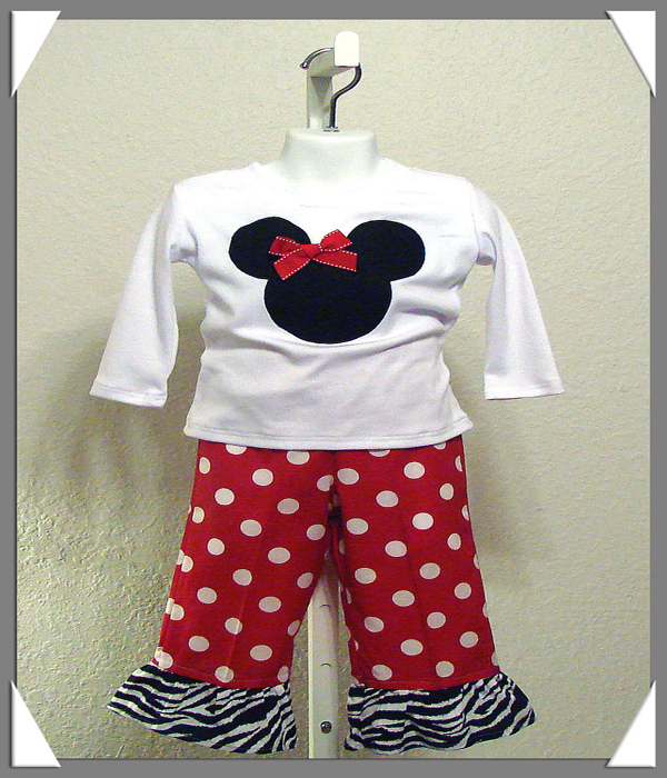 Minnie Zebra N Red Dot Pant Set