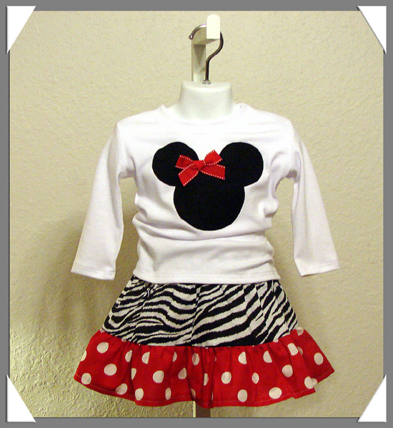 Minnie Skirt Set in Zebra and Red Dot