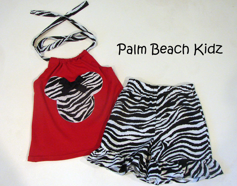 Minnie Red N Zebra Halter Short Set