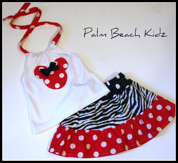 Minnie N Zebra N Red Dot Halter Skirt Set