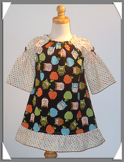 Owls and Owls Peasant Dress
