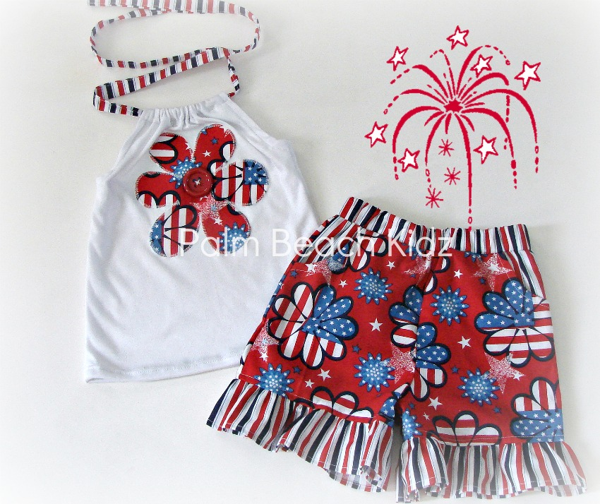 Patriotic Flower Short Set