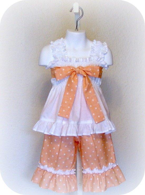 Just Peachy Ruffled Capri Set