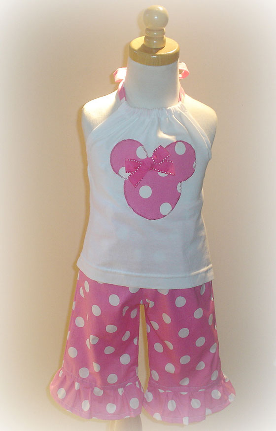 Pink Dot Minnie Capri Set