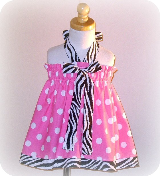 Pink Dots N Zebra Halter Dress