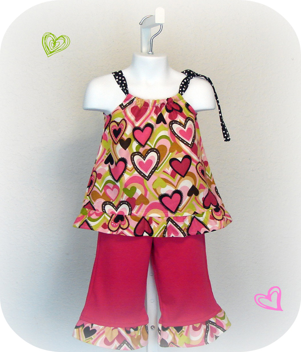 Chocolate N Pink Hearts Pant Set