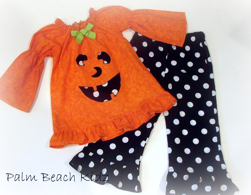 Pumpkin Face Ruffle Pant Set