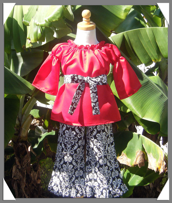 Tropic Holiday Red and Damask Pant Set