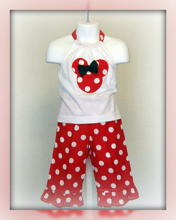 Red Dot Minnie Halter Capri Set