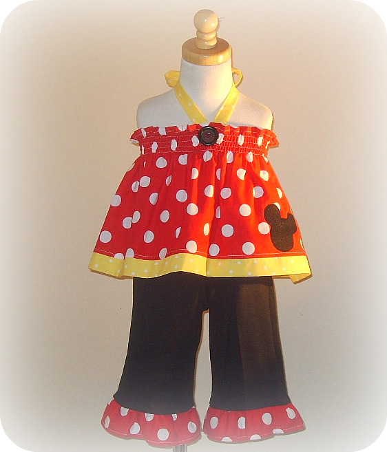 Red Minnie Halter Capri Set