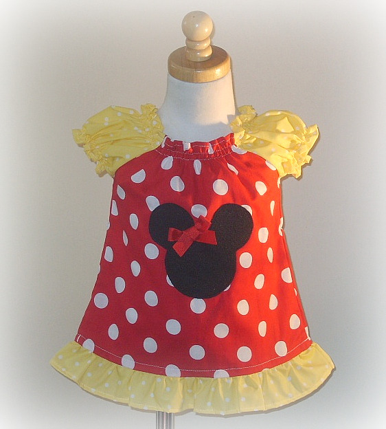 Minnie Red Dot Peasant Top