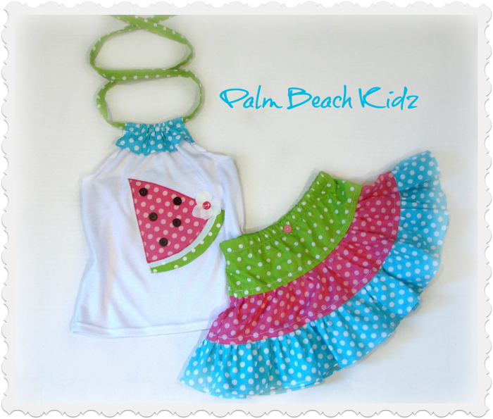 Watermelon Sweetie Girls Custom Boutique Halter Skirt Set