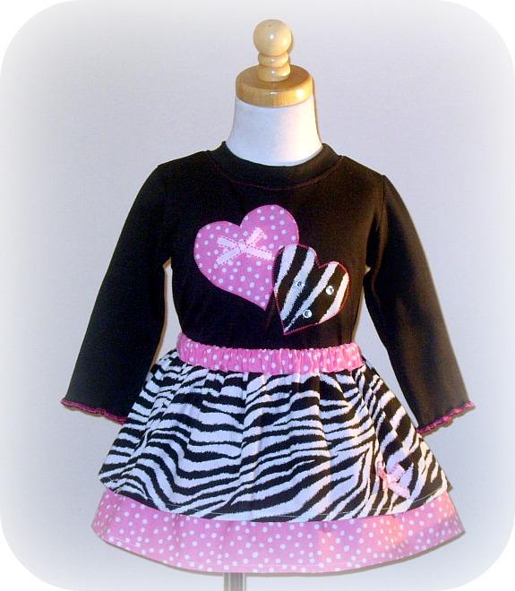 Zebra N Pink Valentine Hearts Skirt Set