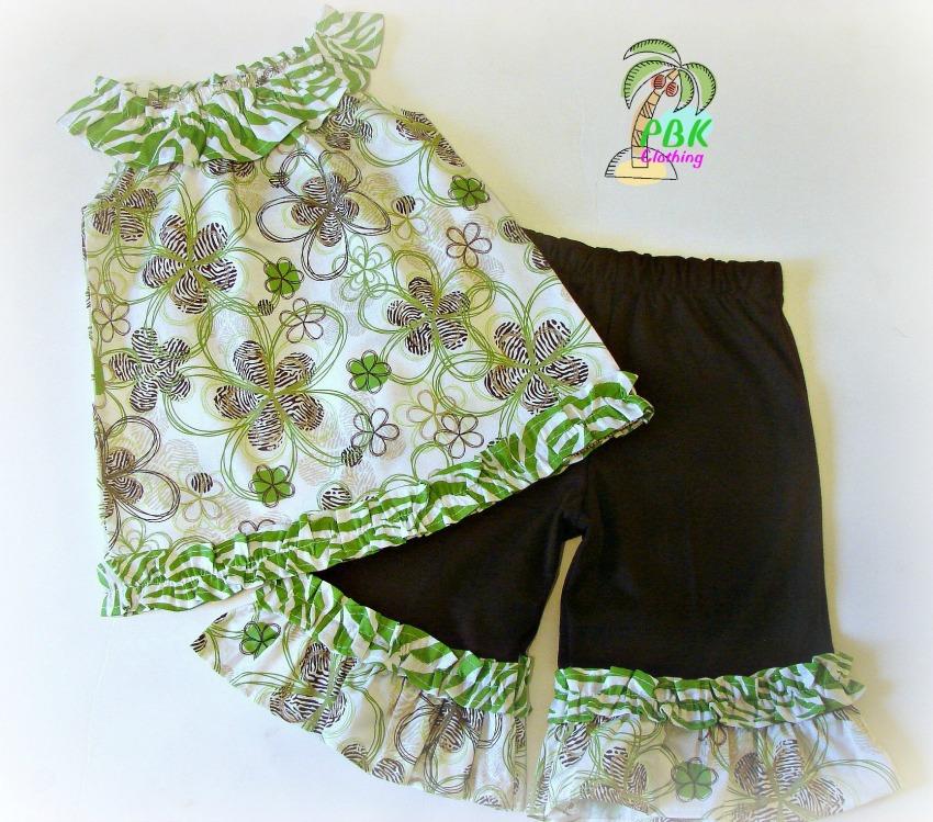 Wild Lime Zebra N Cocoa Flowers Capri Set