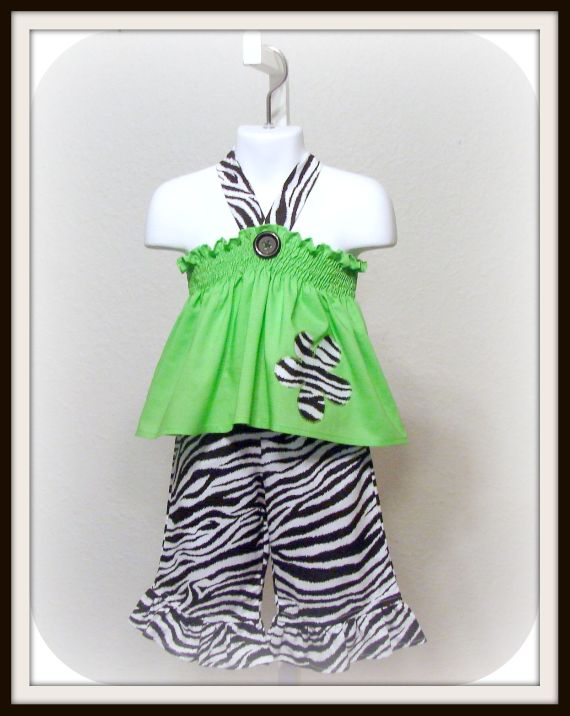 Zebra N Lime Halter Capri Set